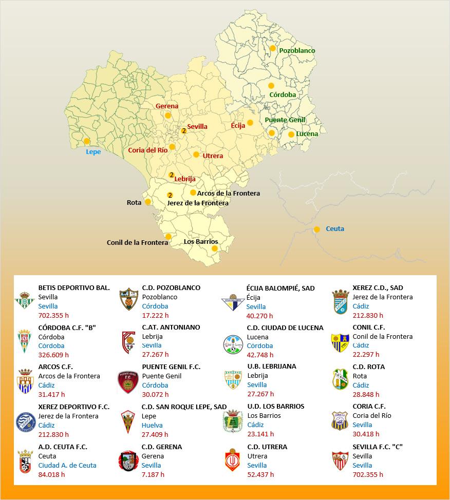 Mapa Localizacion Tercera Division Grupo X 2019-2020 Andalucia-Ceuta