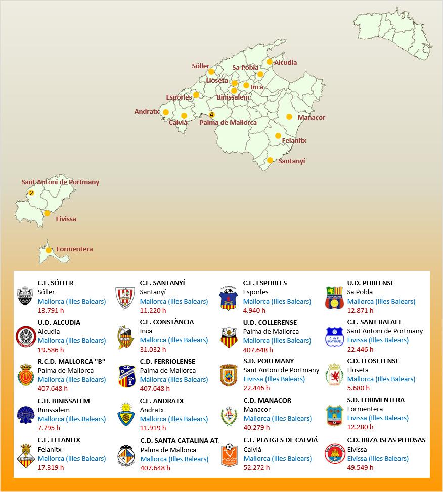 Mapa Localizacion Tercera Division Grupo XI 2019-2020 Baleares
