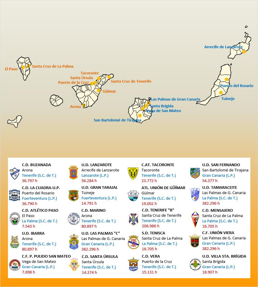 Mapa Localizacion Tercera Division Grupo XII 2019-2020 Canarias