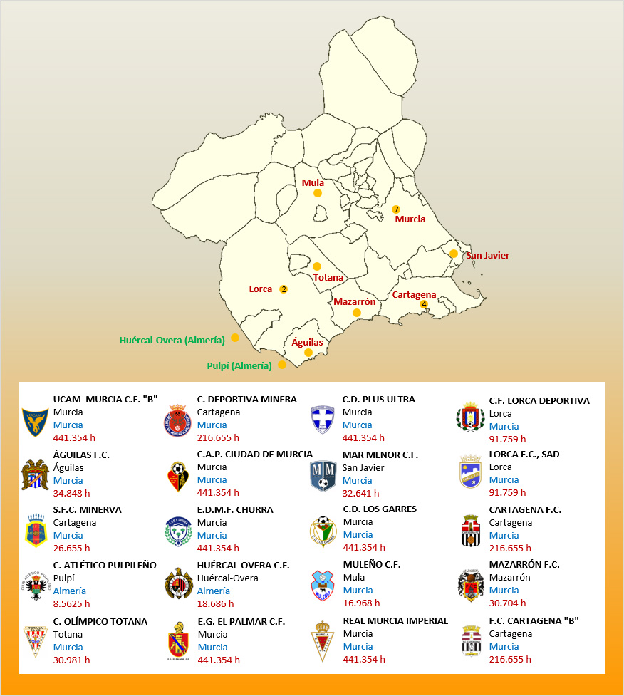 Mapa Localizacion Tercera Division Grupo XIII 2019-2020 Murcia