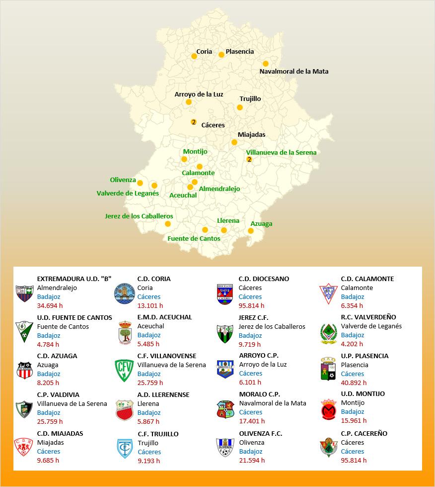 Mapa Localizacion Tercera Division Grupo XIV 2019-2020 Extremadura
