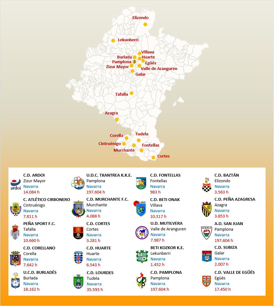 Mapa Localizacion Tercera Division Grupo XV 2019-2020 Navarra