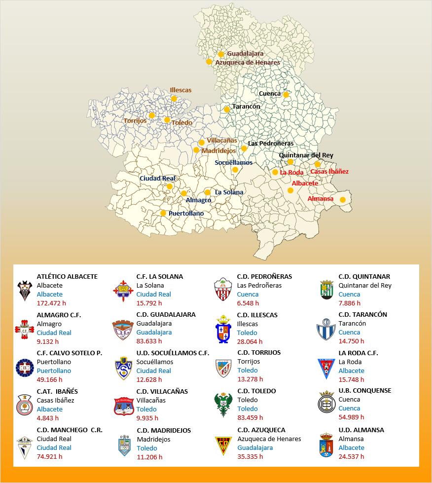 Mapa Localizacion Tercera Division Grupo XVIII 2019-2020 Castilla La Mancha