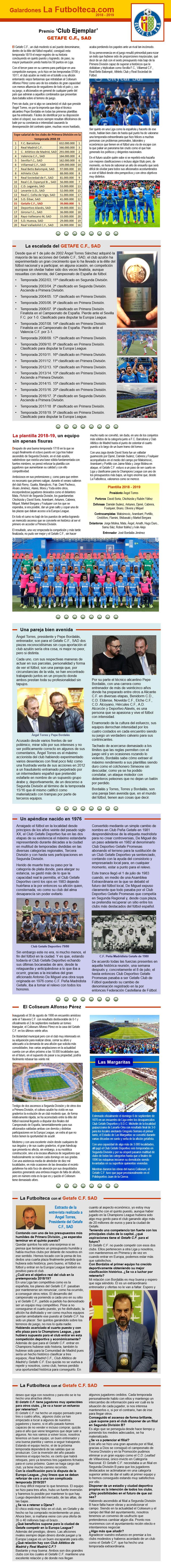 Premio Nacional Club Ejemplar 2018-2019 Getafe CF