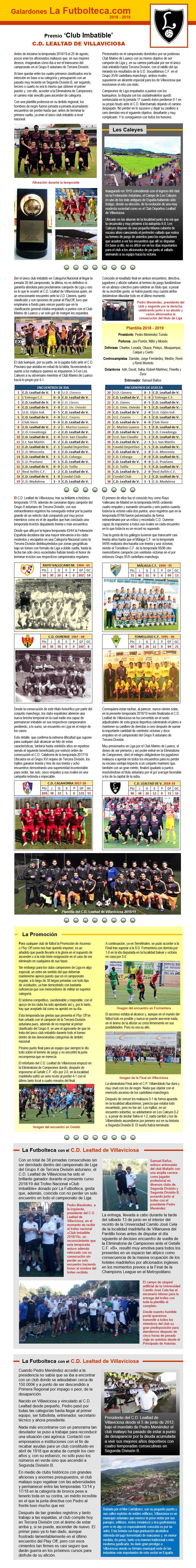 Premio Nacional Club Imbatible 2018-2019 CD Lealtad de Villaviciosa